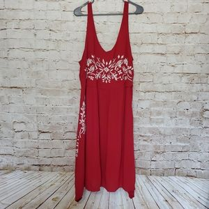 Maurices Sleeveless Embroidered Red Midi Flowy Smo